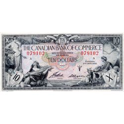 THE CANADIAN BANK OF COMMERCE. $10.00. Jan. 2, 1935. CH-75-18-06. No. 079102/A. Signed Aird-Logan. B