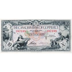THE CANADIAN BANK OF COMMERCE. $10.00. Jan. 2, 1935. CH-75-18-06. No. 397108/A. Signed Aird-Logan. B
