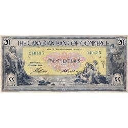 THE CANADIAN BANK OF COMMERCE. $20.00. Jan. 2, 1917. CH-75-16-04-20a. No. 240435/A. Small Logan. PMG