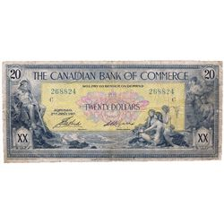 THE CANADIAN BANK OF COMMERCE. $20.00. Jan. 2, 1917. CH-75-16-04-20a. No. 268824/C. Small Logan. PMG