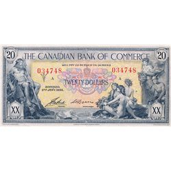 THE CANADIAN BANK OF COMMERCE. $20.00. Jan. 2, 1935. CH-75-18-10. No. 034748/A. PMG graded Choice Ve