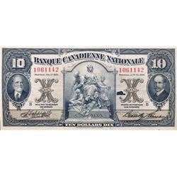 BANQUE CANADIENNE NATIONALE. $10.00. Feb. 1, 1929. CH-85-12-04. No. 1061142. PMG graded Very Fine-30