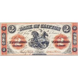 THE BANK OF CLIFTON. $2.00. Sept. 1, 1861. (Engraved '1' in date). CH-125-12-12. No. 1766/A. 'Sassen