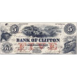 THE BANK OF CLIFTON. $5.00. Oct. 1, 1859. Partially engraved date. CH-125-10-02-06. No. 5015/C. 'Ott