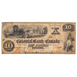 THE COLONIAL BANK OF CANADA. $10.00. 1859. CH-130-10-02-12. No. 241/B. PMG graded Fine-12. Net. Desi
