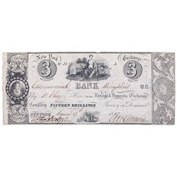 COMMERCIAL BANK. Kingston. $3.00. (15 Shillings). June 17,1837. CH-145-10-02-06. No. 20/A. PMG grade