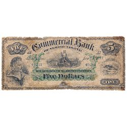 COMMERCIAL BANK OF NEWFOUNDLAND. $5.00. Jan. 3, 1888. CH-185-18-06. No. 49261/B. PMG graded Good-6.