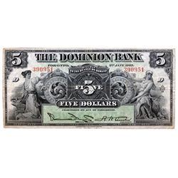 THE DOMINION BANK. $5.00. Jan. 2, 1925. CH-220-16-14. No. 390951/D. Austin, right. PMG graded Very F