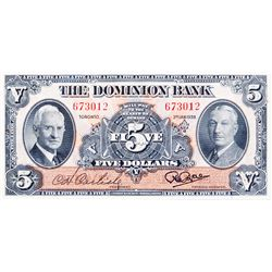 THE DOMINION BANK. $5.00. Jan. 3, 1938. CH-220-28-02. No. 673012. Signed Carlisle-Rae. BCS graded Al