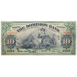 THE DOMINION BANK. $10.00. Jan. 2, 1925. CH-220-18-10. Austin, right. No. 503676/C. PMG graded Choic