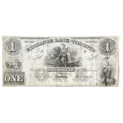 THE EXCHANGE BANK OF TORONTO. $1.00. May 1, 1855. CH-255-10-02R. A Remainder. VG+.