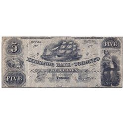 THE EXCHANGE BANK OF TORONTO. $5.00. May 1, 1855. CH-255-10-06R. A Remainder. PMG graded Very Fine-2