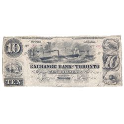 THE EXCHANGE BANK OF TORONTO. $10.00. May 1, 1855. CH-255-10-08R. A Remainder. PMG graded Fine-12.