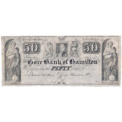 THE GORE BANK OF HAMILTON. $50.00. 18--. CH-325-10-06R. A Remainder. PMG graded Very Fine-25. Net. D