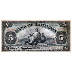 THE BANK OF HAMILTON. $5.00. June 1, 1914. CH-345-20-04. Ms. Signature. No. 1272515. E...E overprint