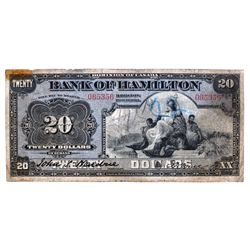 THE BANK OF HAMILTON. $20.00. June 1, 1914. CH-345- 20-18. No. 065356. PMG graded Fine-12.