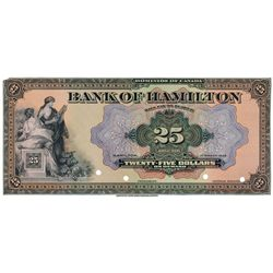 THE BANK OF HAMILTON. $25.00. March 1, 1922. CH-345-22-06P. A full colour Face Proof on thin paper,