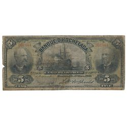 BANQUE D'HOCHELAGA. $5.00. March 1, 1907. CH-360-18-04. No. 366844. PMG graded VG-10. Only four exam