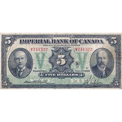 THE IMPERIAL BANK OF CANADA. $5.00. Nov. 1, 1923. CH-375-18-04. No. V741322/B. Rolph, left. PMG grad