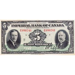 THE IMPERIAL BANK OF CANADA. $5.00. Jan. 3, 1939. CH-375-24-02. No. E090241/D. Signed Jaffray-Phipps
