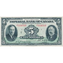 THE IMPERIAL BANK OF CANADA. $5.00. Jan. 3, 1939. CH-375-24-02. No. F114511/A. Signed Jaffray-Phipps