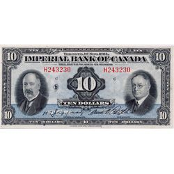 THE IMPERIAL BANK OF CANADA. $10.00. Nov. 1, 1934. CH-375-22-08. No. H243230/C. Signed Jaffray-Rolph