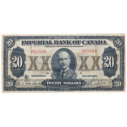 THE IMPERIAL BANK OF CANADA. $20.00. Nov. 1, 1923. CH-375-18-10. No. 002599B. Howland, left. PMG gra