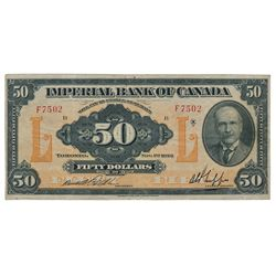 THE IMPERIAL BANK OF CANADA. $50.00. Nov. 1, 1923. CH-375-18-16. No. F7502/B. PMG graded Very Fine-2