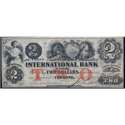 THE INTERNATIONAL BANK OF CANADA. $2.00. Sept. 15, 1858. CH-380-10-10-12a. Red Protector. No. 16688/