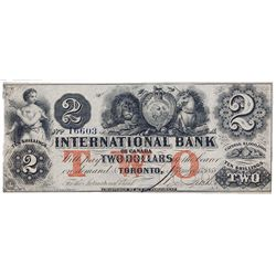 THE INTERNATIONAL BANK OF CANADA. $2.00. Sept. 15, 1858. CH-380-10-10-12a. Red Protector. No. 16603/