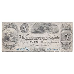 THE KINGSTON BANK. $5.00. 18-(1837). CH-395-10-02R. A Remainder. PMG graded Very Fine-30.