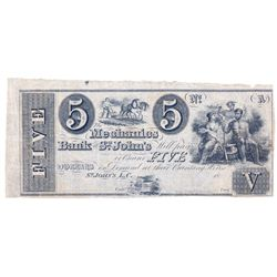 THE MECHANICS BANK OF ST. JOHNS. $5.00. 18-(1837). CH-440-10-02R. A Remainder. PMG graded Very Fine-