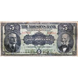 THE MOLSONS BANK. $5.00. Jan. 2, 1908. CH-490-30-02. No. 107741/C. PMG graded Fine-12.