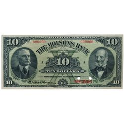 THE MOLSONS BANK. $10.00. Jan. 2, 1908. CH-490-30-04S. No. 000000/A. A full colour Specimen. Unc.