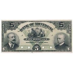 THE BANK OF MONTREAL. $5.00. Jan. 3, 1904. CH-505-48-02P. A full colour Face Proof on thin paper, on
