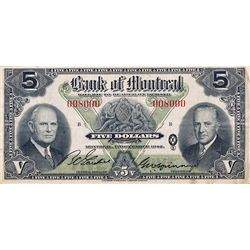 THE BANK OF MONTREAL. $5.00. Dec. 7, 1942. CH-505-64- 02. No. 008000/B. PCGS graded Very Fine-25.