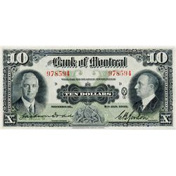 THE BANK OF MONTREAL. $10.00. Jan. 2, 1935. CH-505-60-04. No. 978594/D. Signed Dodds-Gordon. BCS gra
