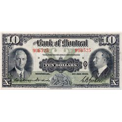 THE BANK OF MONTREAL. $10.00. Jan. 2, 1935. CH-505-60-04. No. 906525/D. Signed Dodds-Gordon. BCS gra
