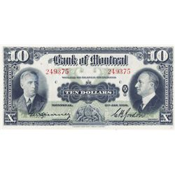 THE BANK OF MONTREAL. $10.00. Jan. 3, 1938. CH-505- 62-04. No. 249375/C. Unc.