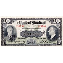 THE BANK OF MONTREAL. $10.00. Jan. 3, 1938. CH-505-62-04. No. 333598/D. Signed Spinney-Gordon. BCS g