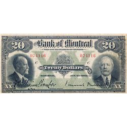 THE BANK OF MONTREAL. $20.00. Jan. 2, 1923. CH-505- 56-06. No. 074116/C. PMG graded Very Fine-25.