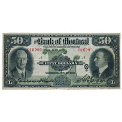 THE BANK OF MONTREAL. $50.00. Jan. 2, 1931. CH-505-58-08. No. 016229/A. Dodds-Gordon. PMG graded Ver