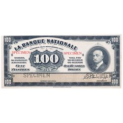 LA BANQUE NATIONALE. $100.00. Nov. 2, 1922. CH-510- 22-10S. A Specimen. PCGS graded UNC-62. PPQ.