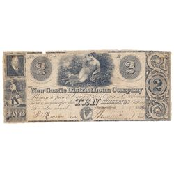 THE NEW CASTLE DISTRICT LOAN BANK. $2.00. (10 Shillings). 1836. CH-525-10-04. No. 782. PMG graded VG