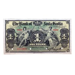 THE BANK OF NOVA SCOTIA. Kingston, Jamaica. One Pound. Jan. 2, 1900. CH-550-38-02-02S. No. 00000 A f