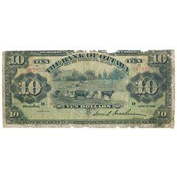 THE BANK OF OTTAWA. $10.00. June 1, 1905. CH-565-20-10. No. 087892/D. McLaren, right. Green tint. PM