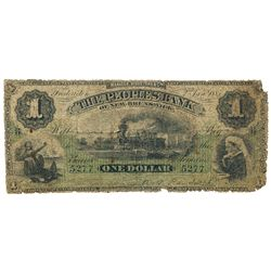 THE PEOPLES BANK OF NEW BRUNSWICK. $1.00. Jan. 2, 1885. CH-585-14-02. No. 5277/B. PMG graded Good-4.