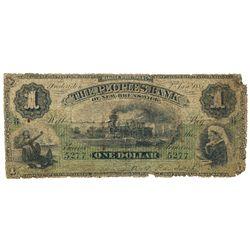 THE PEOPLES BANK OF NEW BRUNSWICK. $1.00. Jan. 2, 1885. CH-585-14-02. No. 5277/B. PMG graded Good-4.