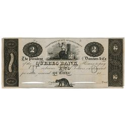 THE QUEBEC BANK. $2.00. 18-(1819-1830's). An unlisted note from the Graphic Issue. Similar to CH-620