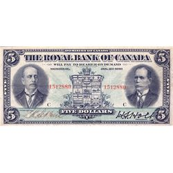 THE ROYAL BANK OF CANADA. $5.00. Jan. 2, 1913. No. 1512880/C. CH-630-12-02. Ms signatures. PMG grade